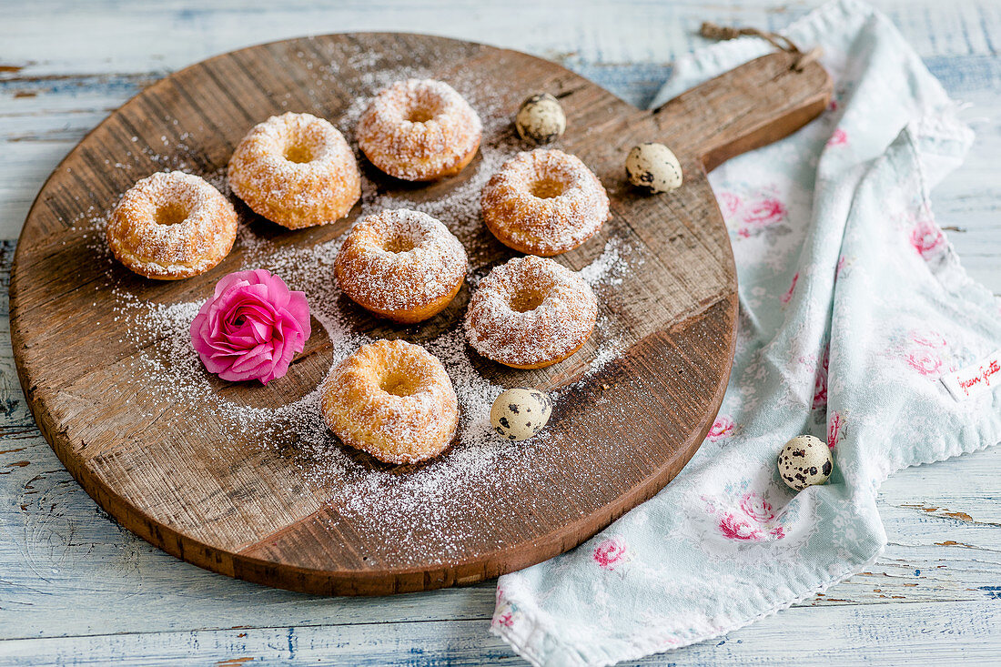 Mini Bundt cakes made with eggnog