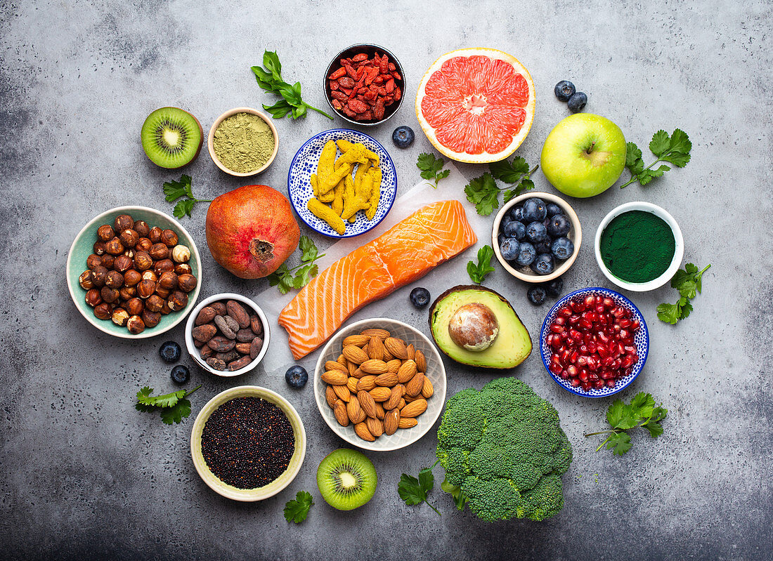 Selection of healthy products and superfoods