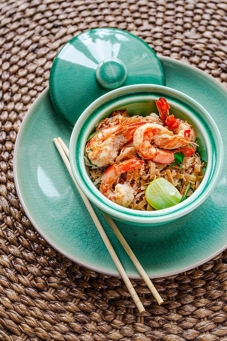Pad Thai (Thai rice noodles with shrimps)