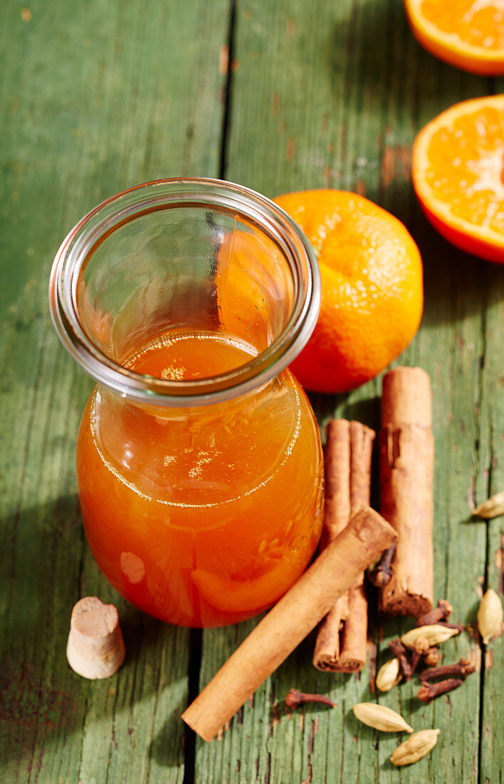 Homemade mandarin spice syrup with cinnamon