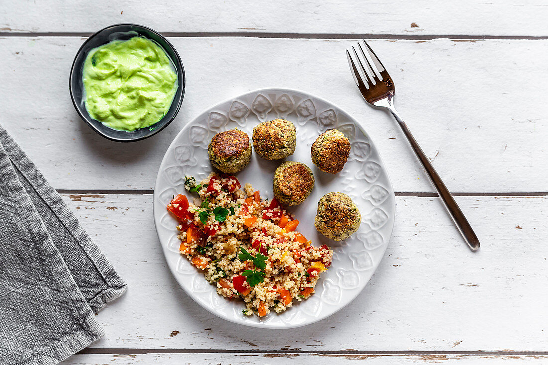 Chia falafel with pepper couscous tabbouleh and a wasabi dip