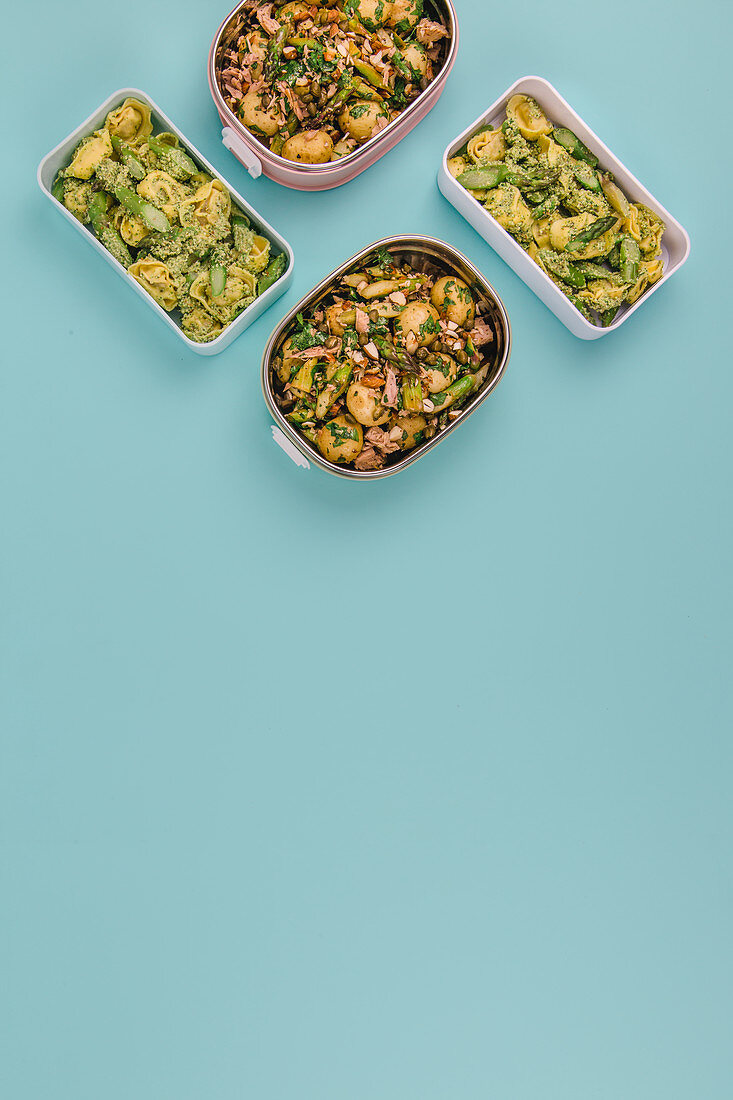 Two different types of green asparagus to take away – in potato salad and with tortellini