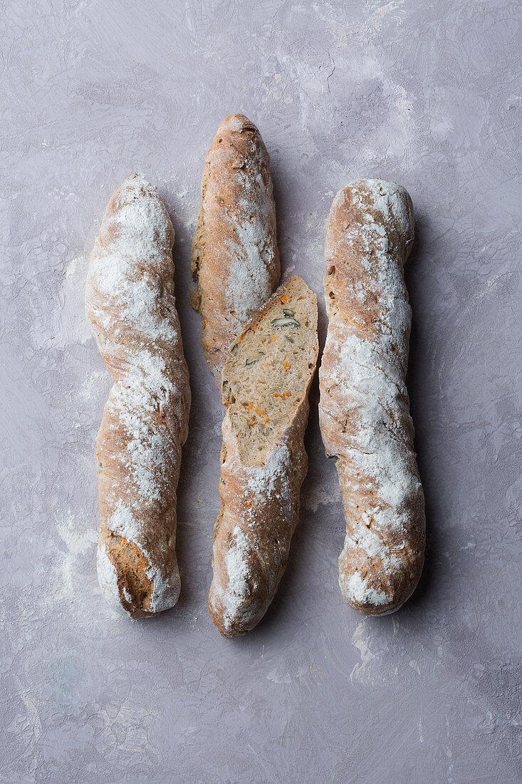 Mini wholemeal carrot baguettes