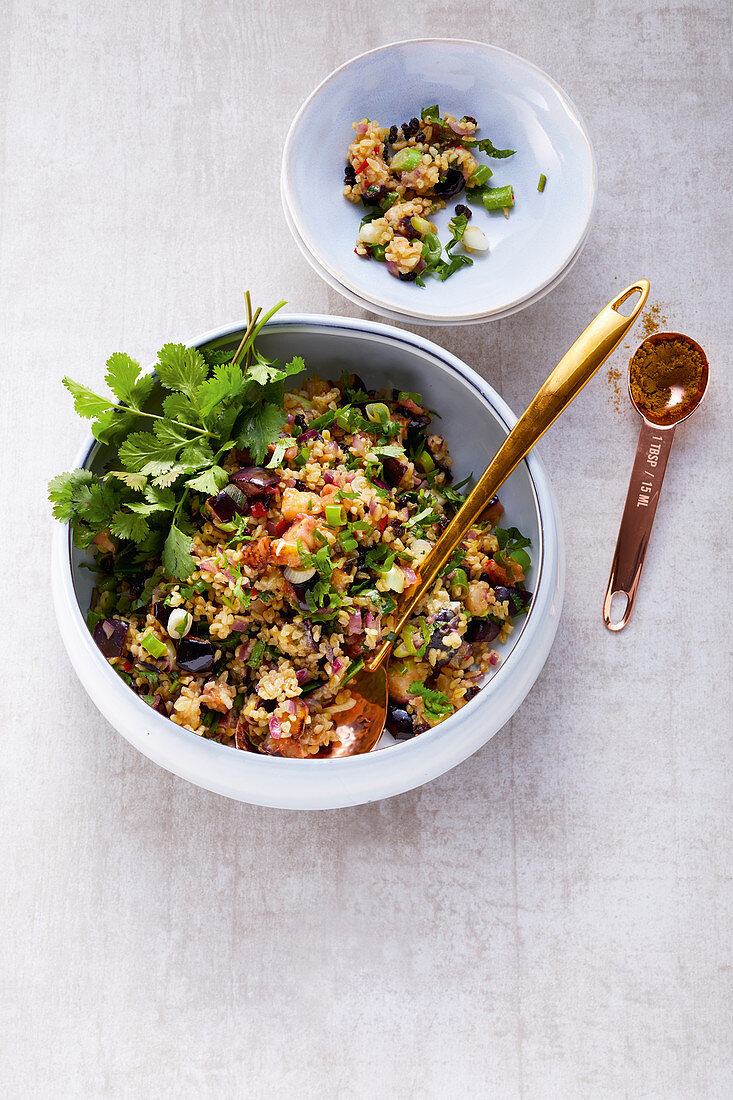 Oriental eggplant tabouleh with barberries