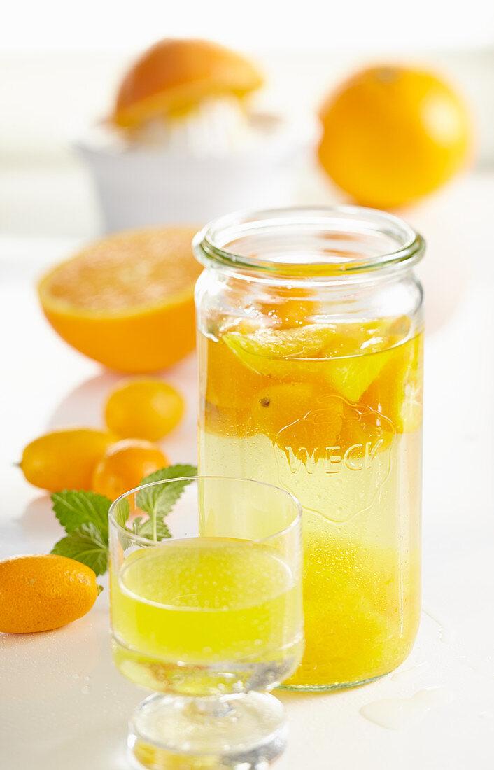 Homemade orange and kumquat liqueur with oranges, vanilla and grain