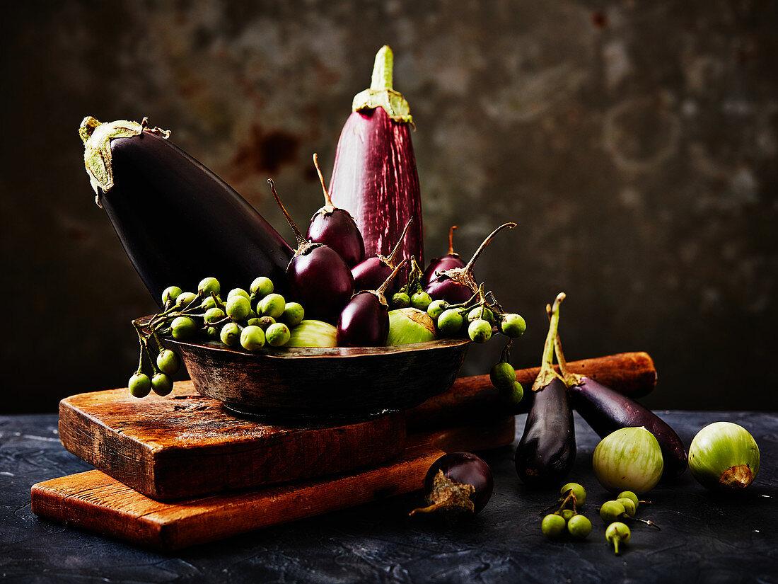 Still-life arrangement of aubergines