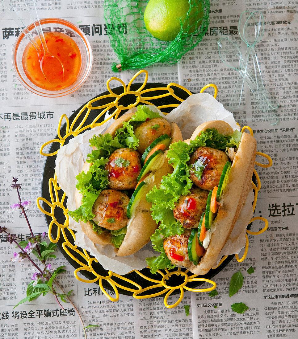 Banh mi with chilli meatballs (Asia)