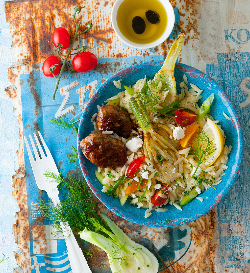 Greek keftedes with fennel and kritharaki