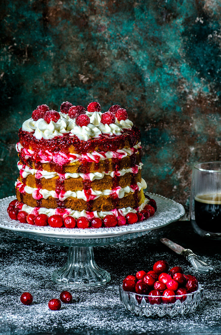 Biscuit multi-tier cake with cranberries and cream cheese and fresh cranberries
