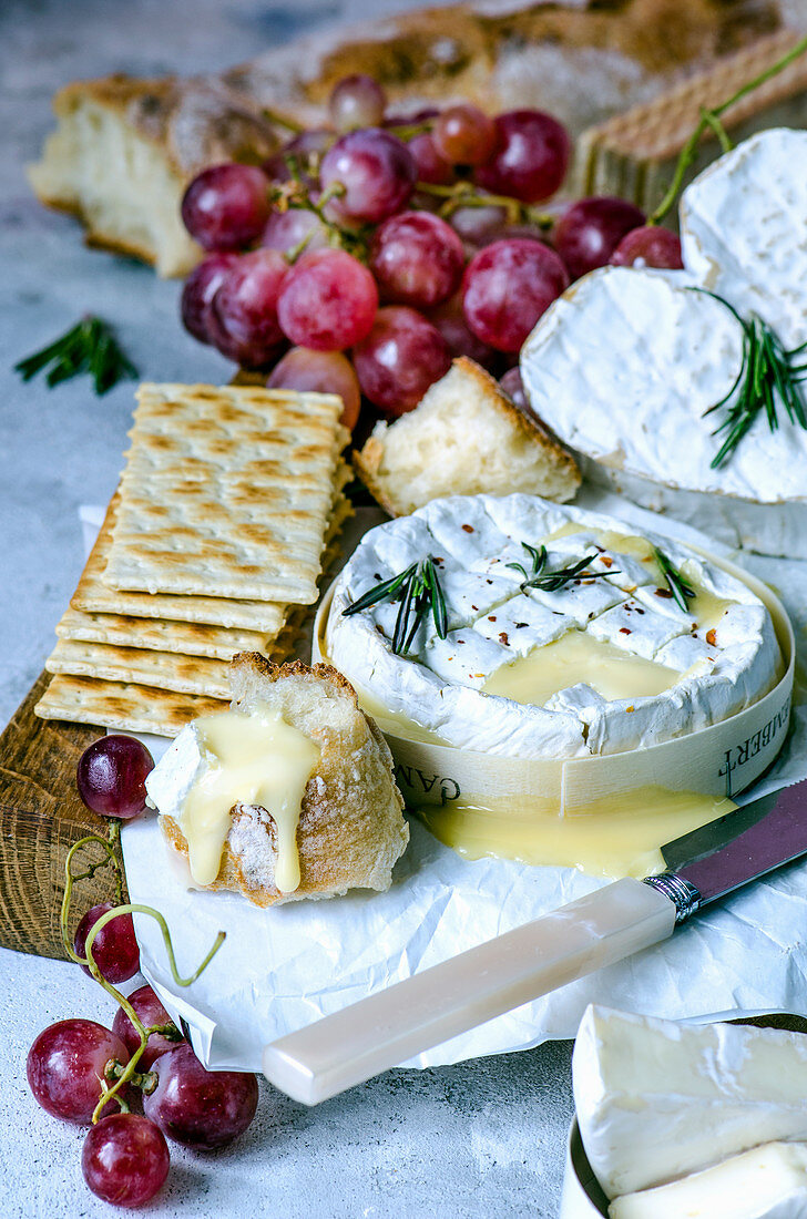 Melted Camembert, Ciabatta, Pink Grapes, Crackers and Rosemary