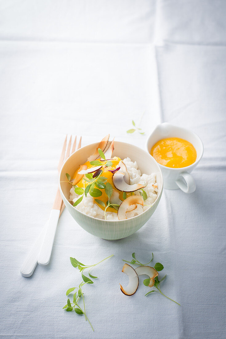 Rice pudding with coconut and cress