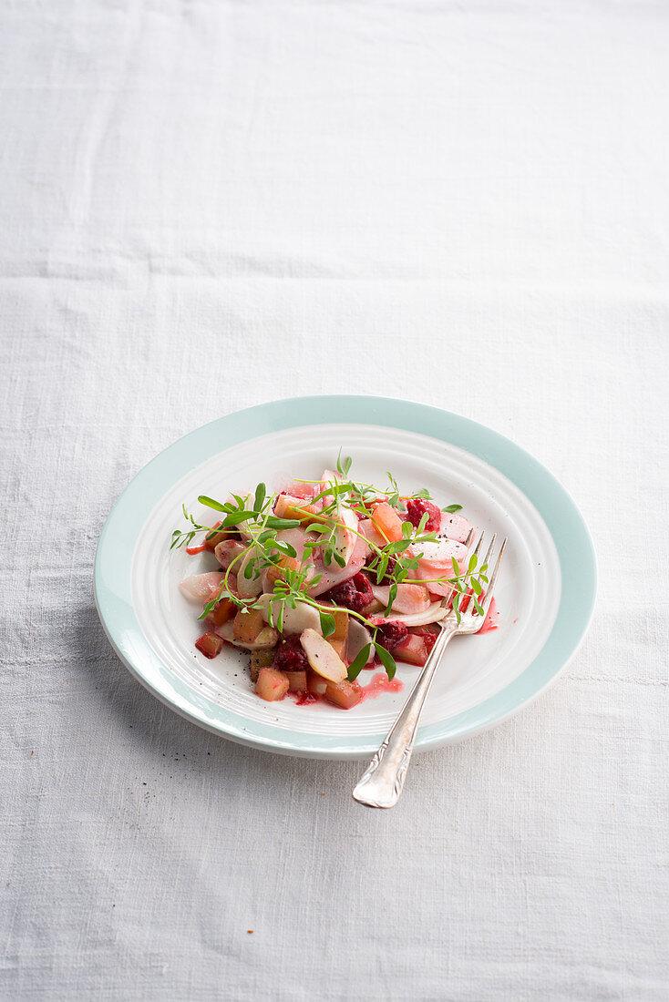 Asparagus salad with lentil shoots