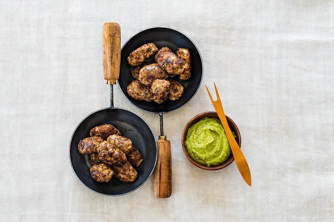 Kofta and Avocado Hummus