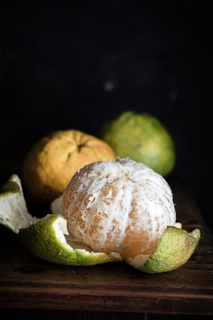 A peeled ugli fruit