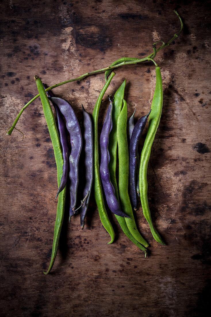 Green and purple runner beans
