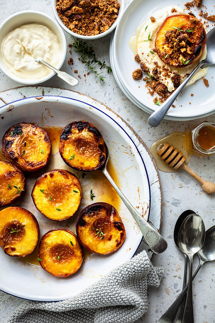 Grilled peaches with ginger labne and spiced almond crumb