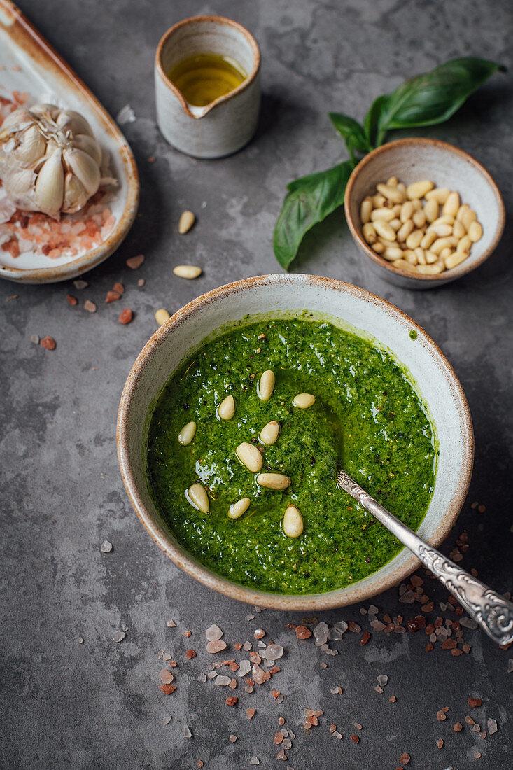 A bowl of homemade basil pesto