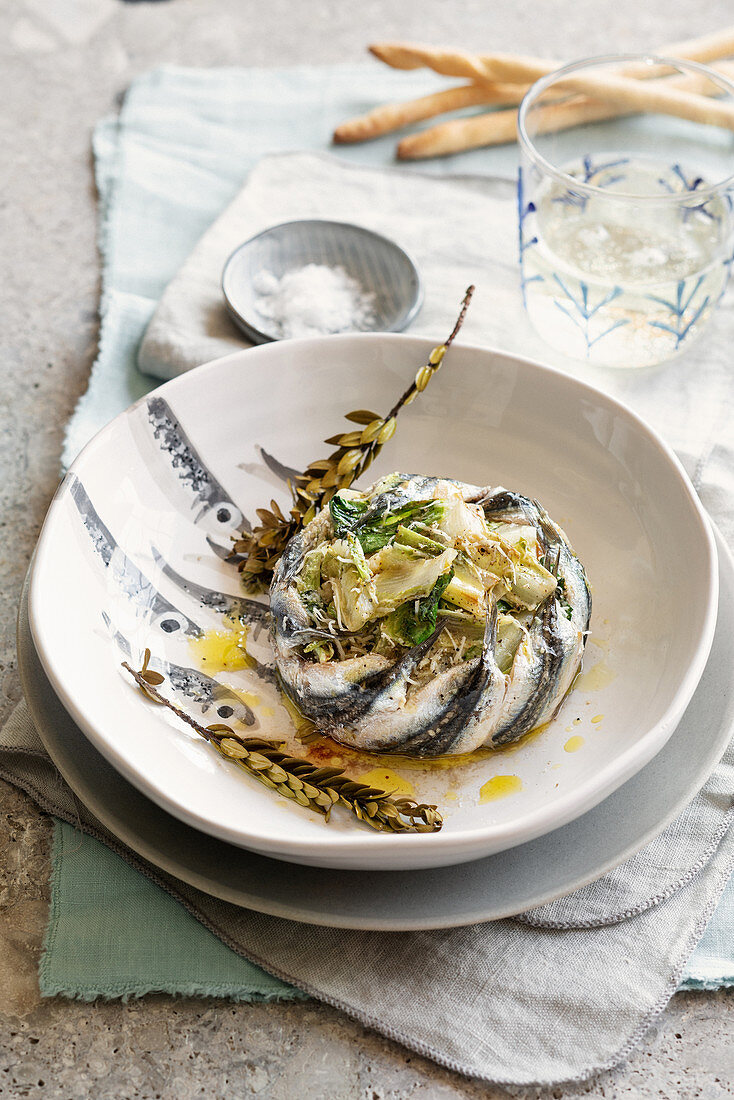Oven-baked sardine millefeuille with chicory