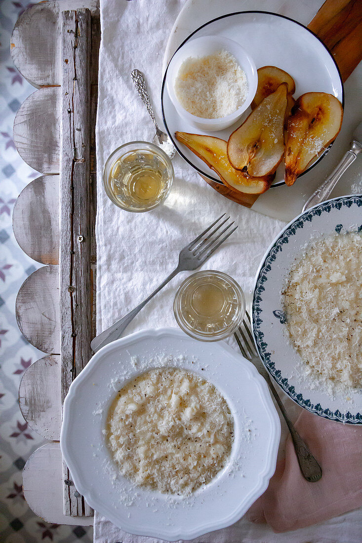 Pear risotto with Parmesan cheese