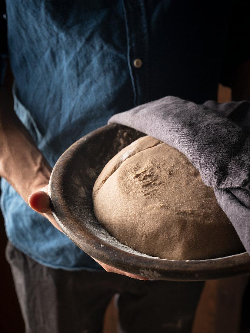 Bread dough in a proving bowl