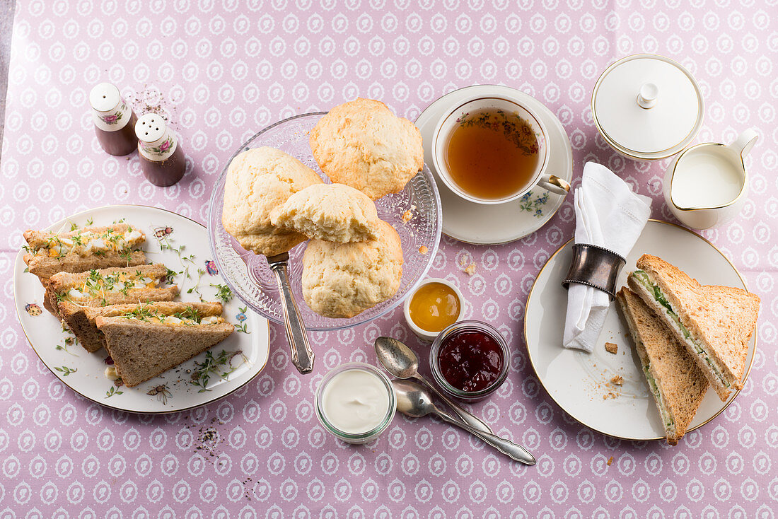 Teatime with sandwiches and scones