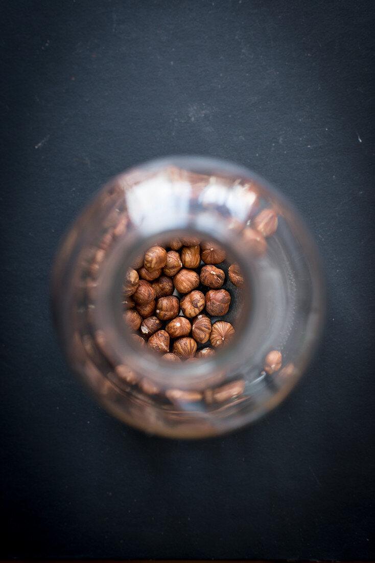 Hazelnut kernels in a storage jar
