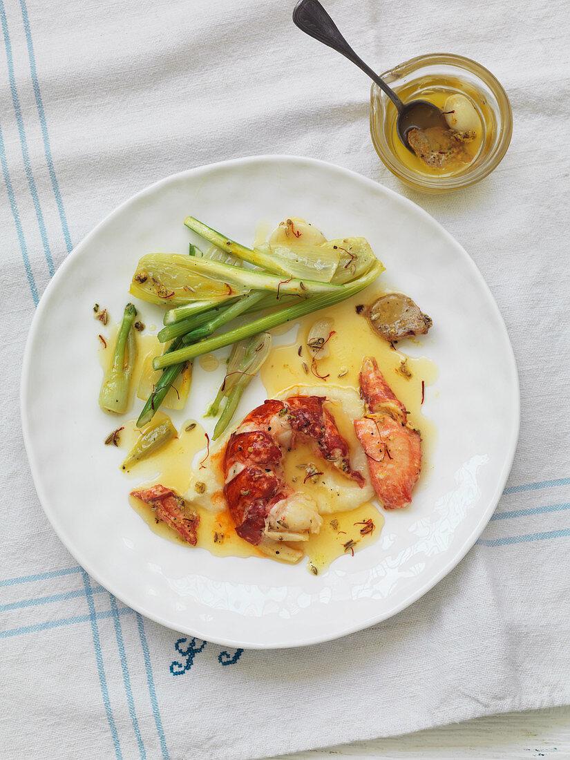 Lobster with saffron sauce