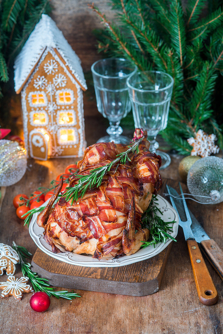 Chicken wrapped in bacon for Christmas