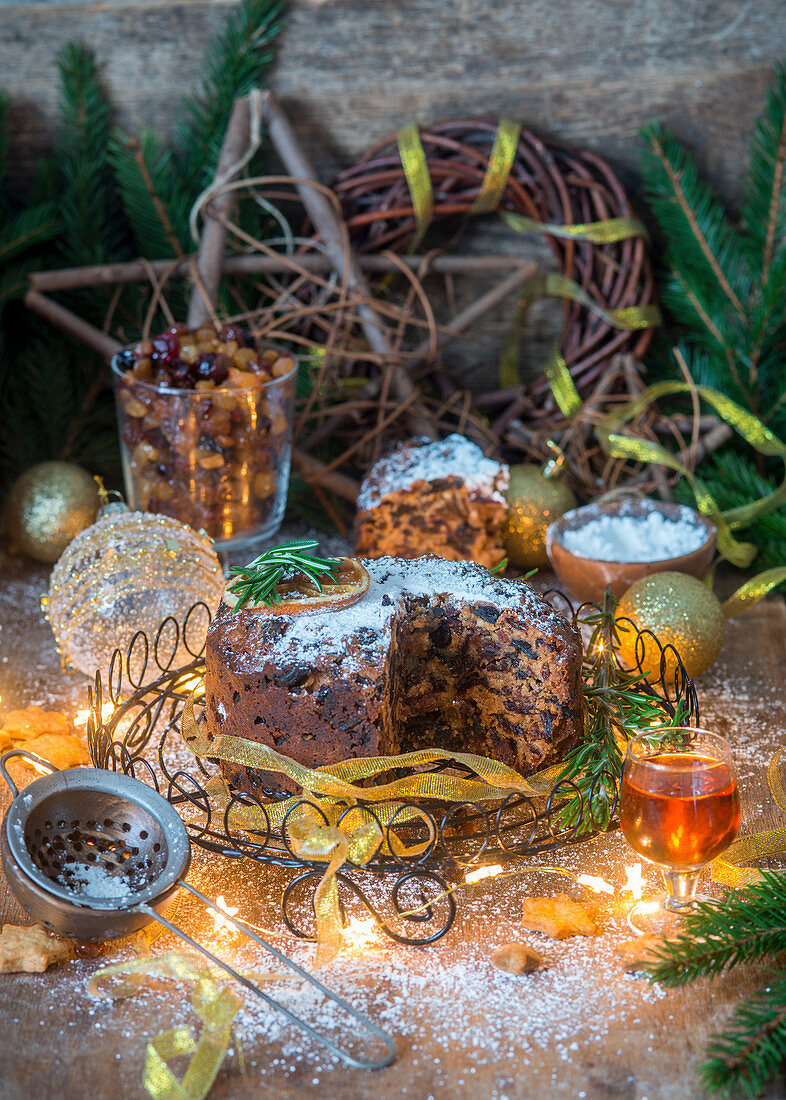 Christmas cake with dried fruit, sliced