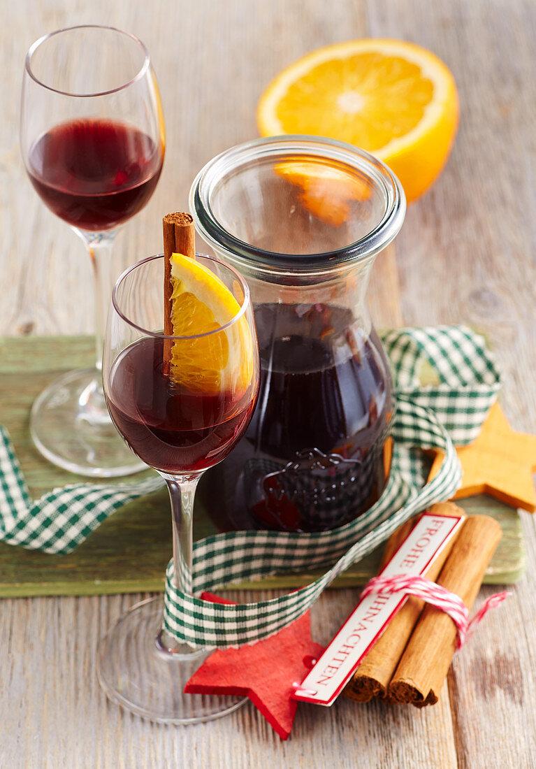 Christmas mulled wine liqueur with orange, cinnamon and vodka