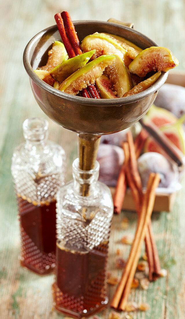 Homemade fig liqueur with rock sugar, vanilla, cinnamon and vodka