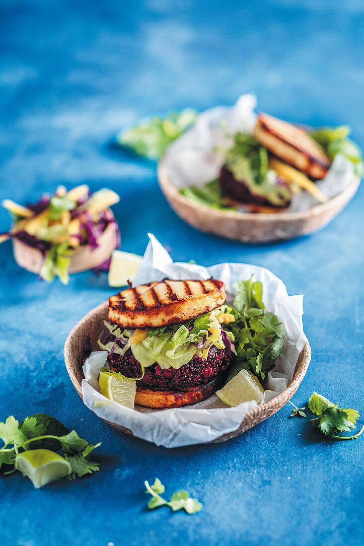 Gluten free halloumi burger with beetroot and quinoa patties