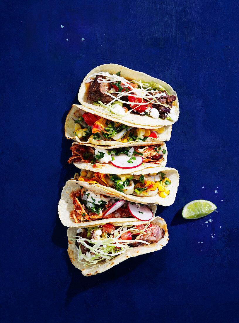 Carne asada tacos with arbol chilli salsa, Chicken Tinga tacos, Calamari and corn tacos with salsa verde