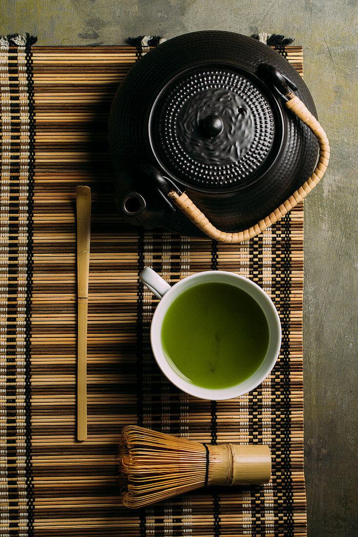 Teapot, Matcha tea and bamboo whisk