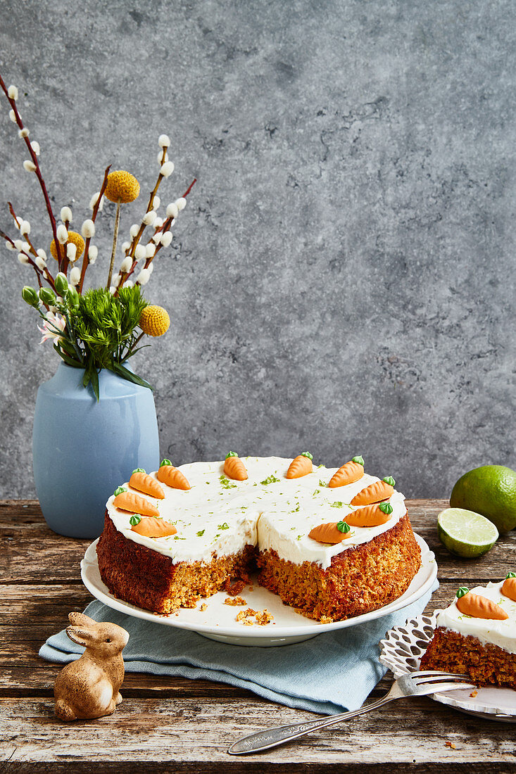 Carrot cake with ginger for Easter