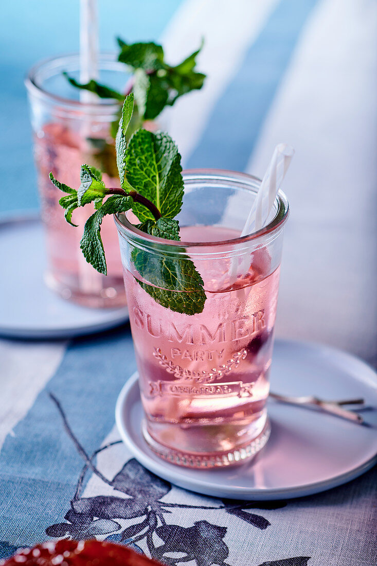 Syrup with fresh mint