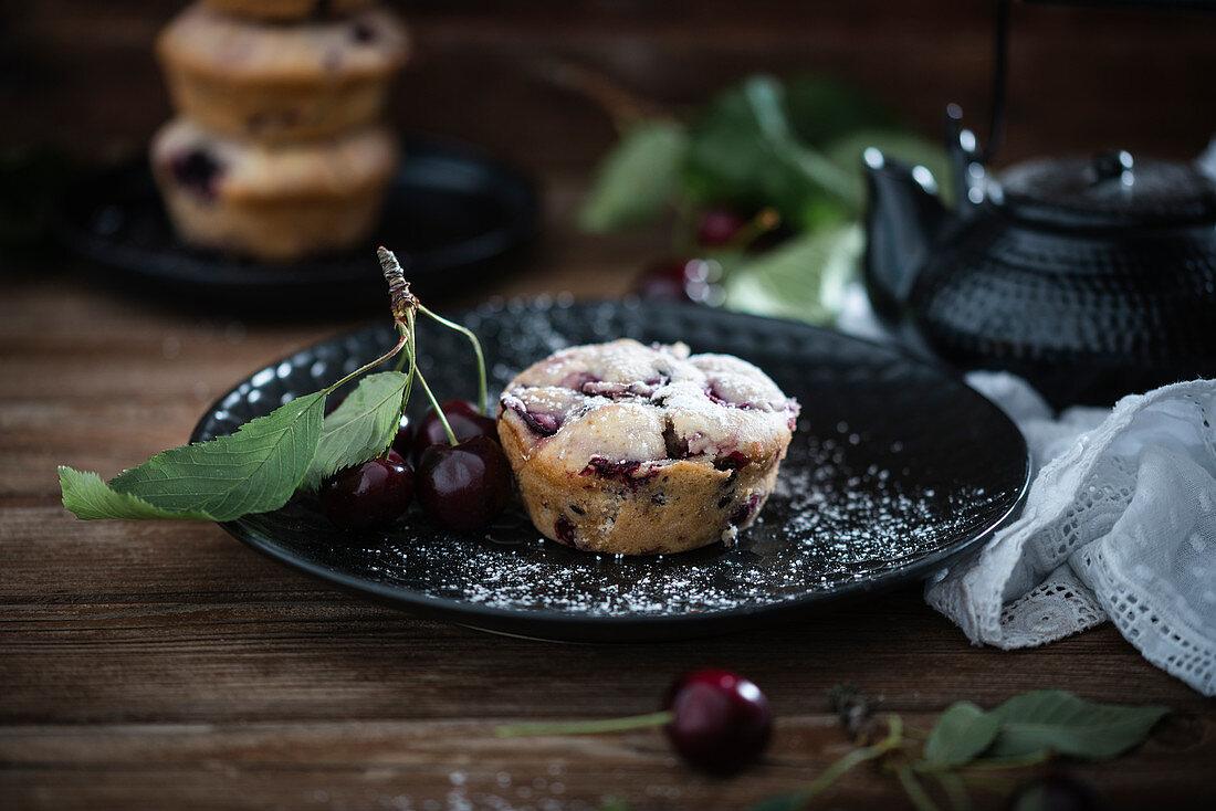Vegan sweet cherry muffins