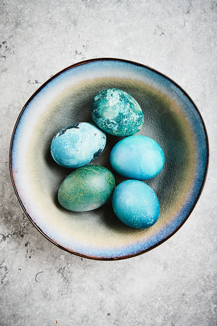 Easter eggs dyed with red cabbage