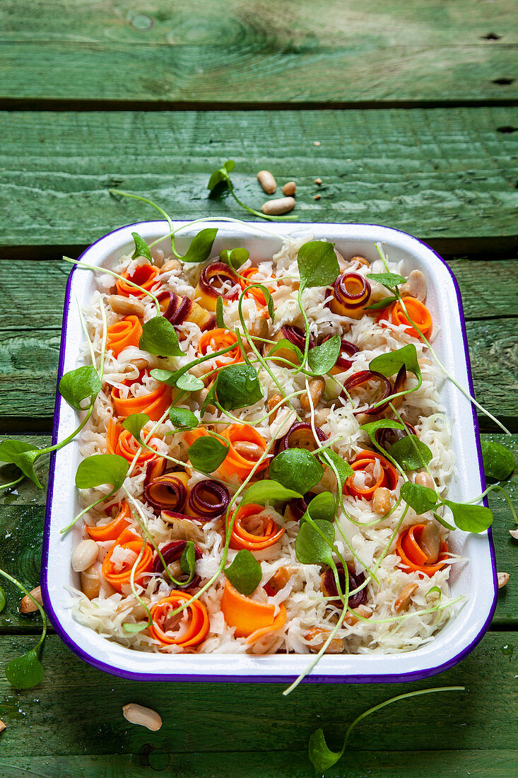 Coleslaw with colorful carrots, peanuts and purslane
