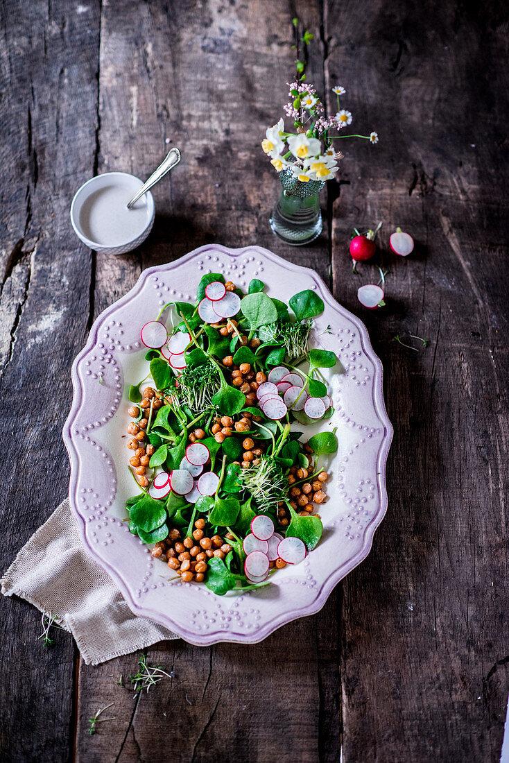 Chickpea purslane salad with yogurt tahini dressing