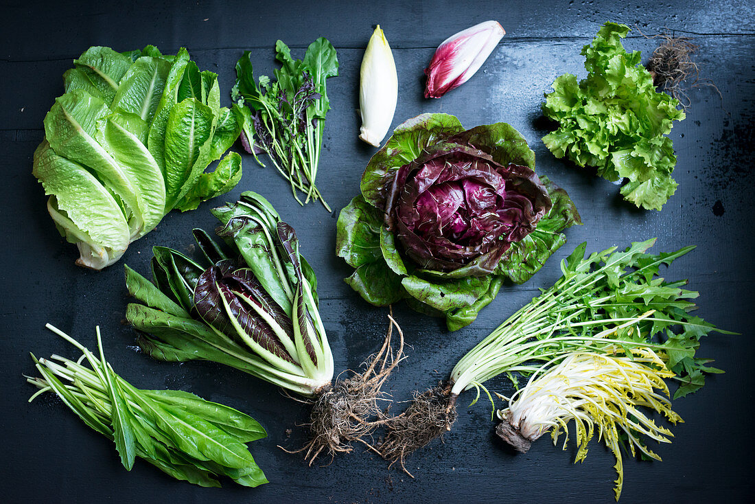 Various bitter salad leaves