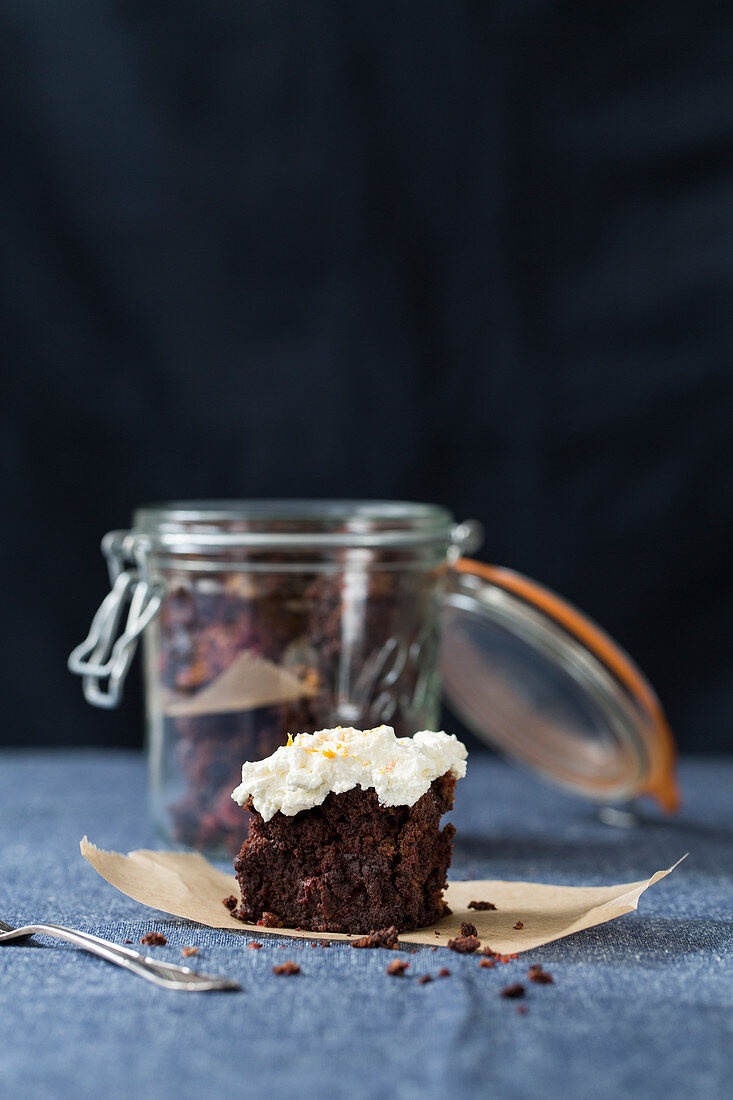 A beetroot brownie with orange zest and cream