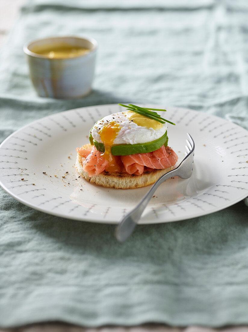 Eggs Benedict with salmon and avocado