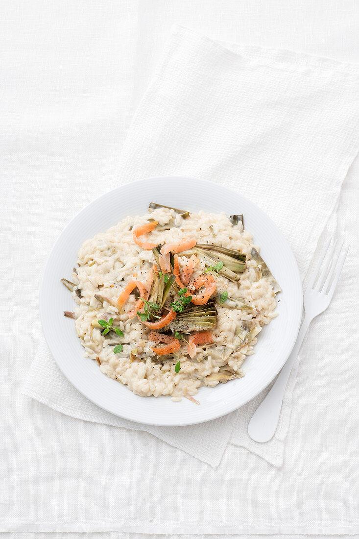 Artichoke risotto with smoked salmon