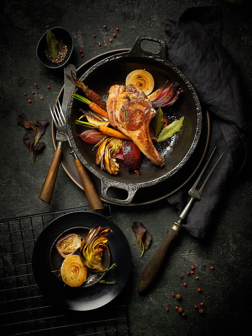 A lamb chop with grilled vegetables