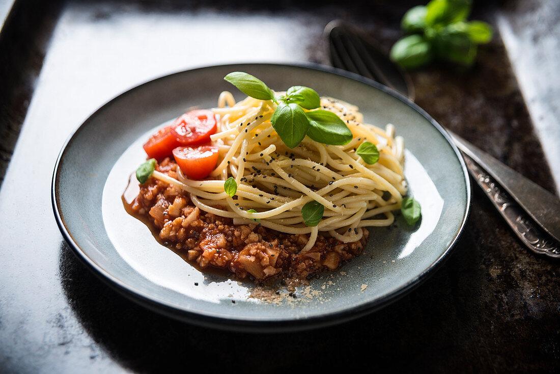 Spaghetti with vegan cauliflower bolognese