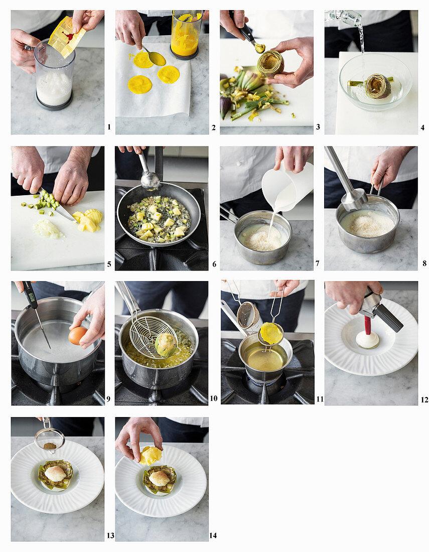 How to make stuffed artichoke with egg on foam sauce