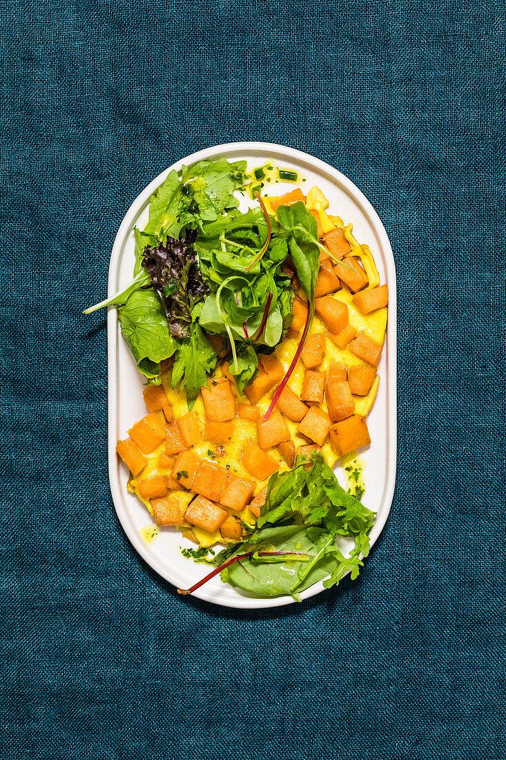 Sweet potato frittata with a mixed leaf salad