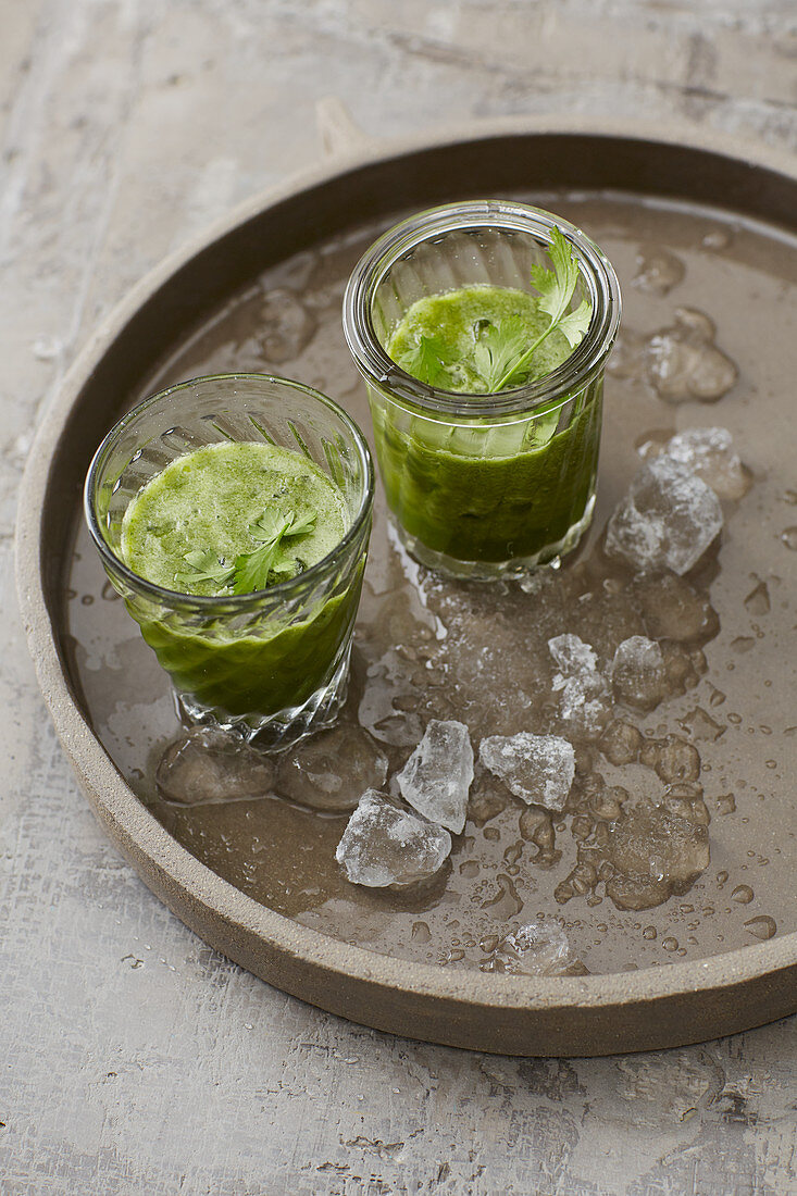 Ice cold wheatgrass drinks
