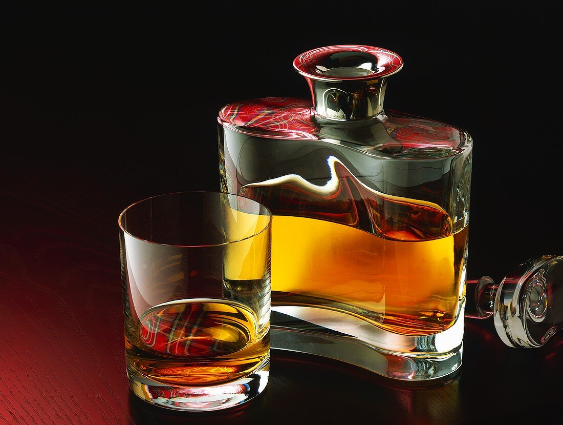 Scotch in glass and bottle